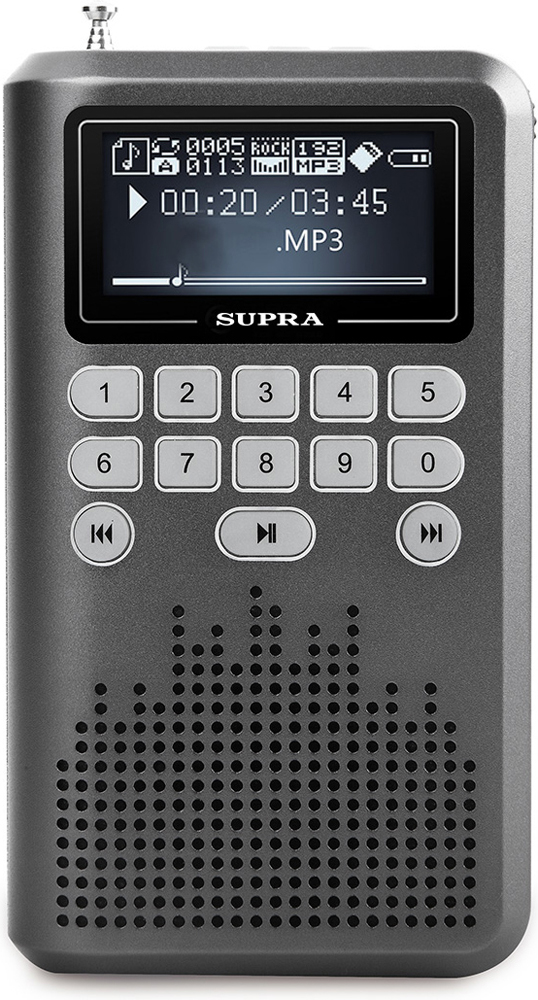 """Supra PAS-3907, Grey портативная аудиосистемаPAS-3907 greyПортативная аудиосистема-радиоприемник Supra PAS-3907 позволит вам прослушивать любимые композиции везде, где бы вы ни находились. Модель с 1,8"""" дисплеем, разъемом для подключения наушников и разъемом USB для передачи данных и воспроизведения файлов оснащена встроенным цифровым FM-тюнером, поддерживает карты памяти TF объемом до 32 Гб и воспроизводит файлы форматов MP3, WAV и WMA. Также устройство дополнено AUX-входом, фонариком и диктофоном. Работает система от съемного Li-Ion аккумулятора и может автономно воспроизводить звук в течение 8 ч."""