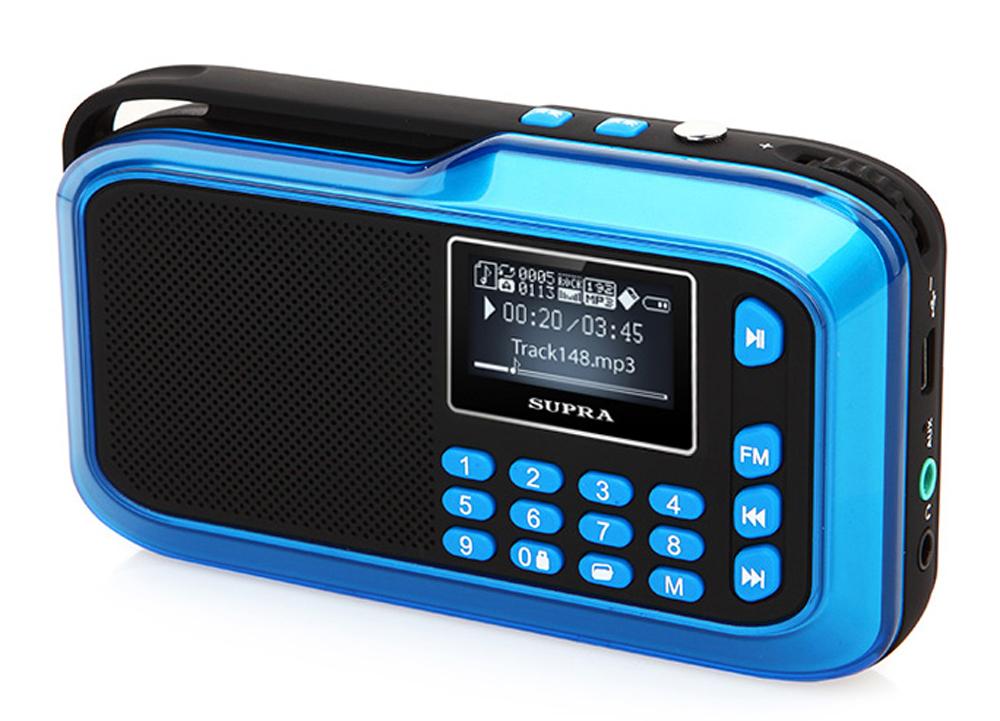 Supra PAS-3909, Blue портативная аудиосистемаPAS-3909 blueПортативная аудиосистема-радиоприемник Supra PAS-3909 позволит вам прослушивать любимые композиции везде, где бы вы ни находились. Модель с ЖК-дисплеем, разъемом для подключения наушников и разъемом microUSB для передачи данных и воспроизведения файлов оснащена встроенным цифровым FM-тюнером, поддерживает карты памяти TF объемом до 32 Гб и воспроизводит файлы форматов MP3, WAV и WMA.Имеются функции блокировки от случайного нажатия клавиш и добавления звуковой дорожки в список избранного. Также устройство дополнено AUX-входом. Работает система от съемного Li-Ion аккумулятора.