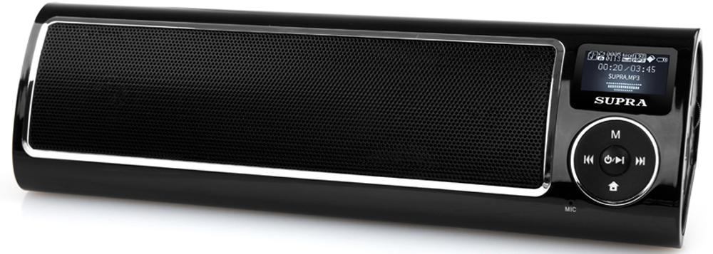 Supra PAS-6280, Black портативная аудиосистемаPAS-6280 blackПортативная аудиосистема Supra PAS-6280 позволит вам прослушивать любимые композиции везде, где бы вы ни находились. Аудиосистема имеет поддержку технологии беспроводной связи Bluetooth, что позволит использовать в качестве источника звука любое устройство, оснащенное Bluetooth-интерфейсом, а также гаджеты iPad и iPhone.Модель с ЖК-дисплеем, разъемом для подключения наушников и разъемом для подключения USB-носителей объемом до 32 Гб оснащена встроенным FM-тюнером, поддерживает карты памяти Micro SD и воспроизводит файлы форматов MP3 и WMA. Имеются функции диктофона, календаря и будильника. Также устройство дополнено AUX-входом. Работает система от съемного Li-Ion аккумулятора и может автономно воспроизводить звук в течение 8 ч.