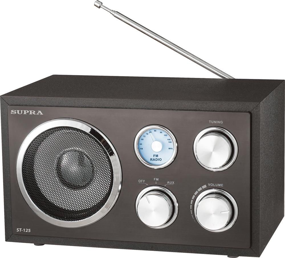 Supra ST-125, Black радиоприемникST-125 blackНастольный радиоприемник в стиле ретро Supra ST-125 с аналоговым тюнером и поддержкой расширенного FM-диапазона 64-108 МГц имеет аудиовход для подключения внешних устройств и синюю подсветку переключения частоты.На лицевой панели устройства расположены четыре круглые механические ручки для управления приемником и динамик, обеспечивающий качественное и громкое звучание музыки. Имеется функция автоотключения.Приемник работает от сети 220В.