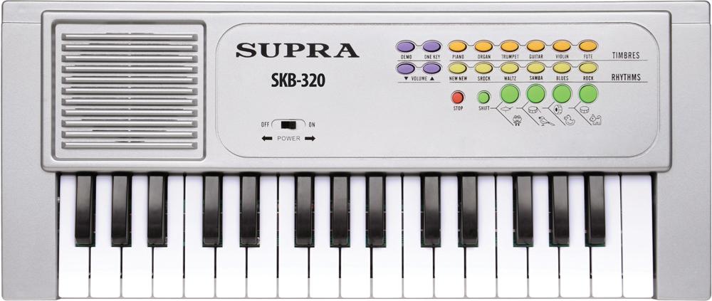 Supra SKB-320 цифровой синтезаторSKB-32032-клавишный электронный синтезатор Supra SKB-617 - компактный многофункциональный синтезатор начального уровня.Синтезатор выполнен из прочного пластика и имеет встроенный динамик, 6 встроенных тембров, 6 автоматических ритмов, 4 ударных инструмента, 4 специальных звука (звуки животных), 22 демонстрационные композиции и функцию управления одной кнопкой. Управление функциями и эффектами синтезатора осуществляется с помощью ярких и удобных кнопок на лицевой панели. Питание устройства осуществляется от 3 батареек типа АА (в комплект не входят).