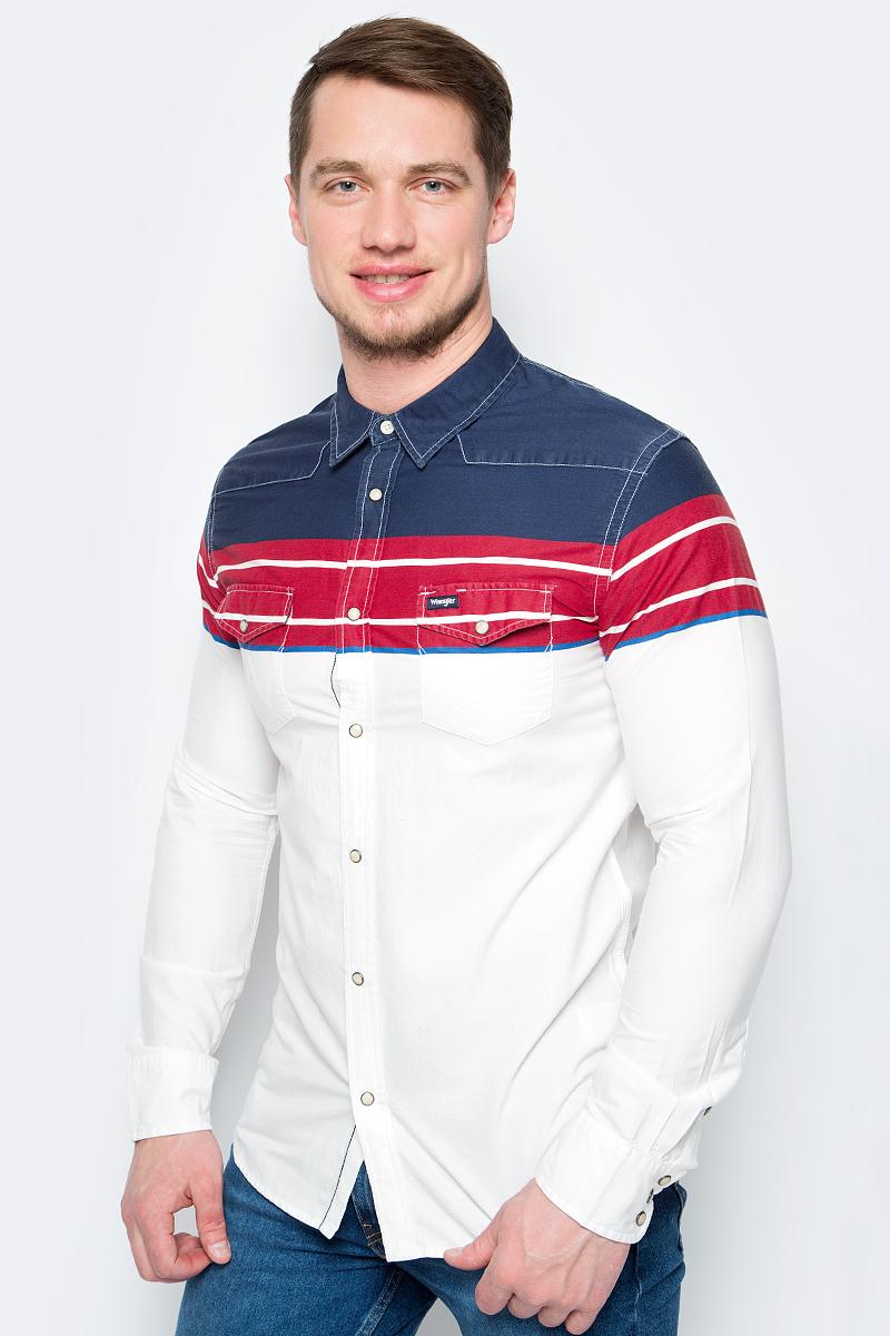 Рубашка мужская Wrangler, цвет: белый, красный, синий. W5965MZUU. Размер XL (52)W5965MZUUРубашка от Wrangler выполнена из натурального хлопка. Модель с длинными рукавами и отложным воротником застегивается на кнопки.