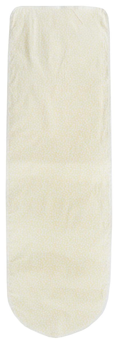 Чехол для гладильной доски Eva с поролоном, цвет: желтый, белый, 120 х 38 смЕ13*_желтый, белые цветы