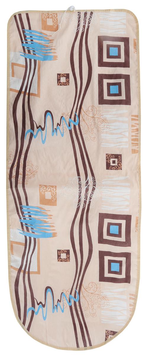 Чехол для гладильной доски Detalle, цвет: бежевый, коричневый, голубой, 125 х 47 см