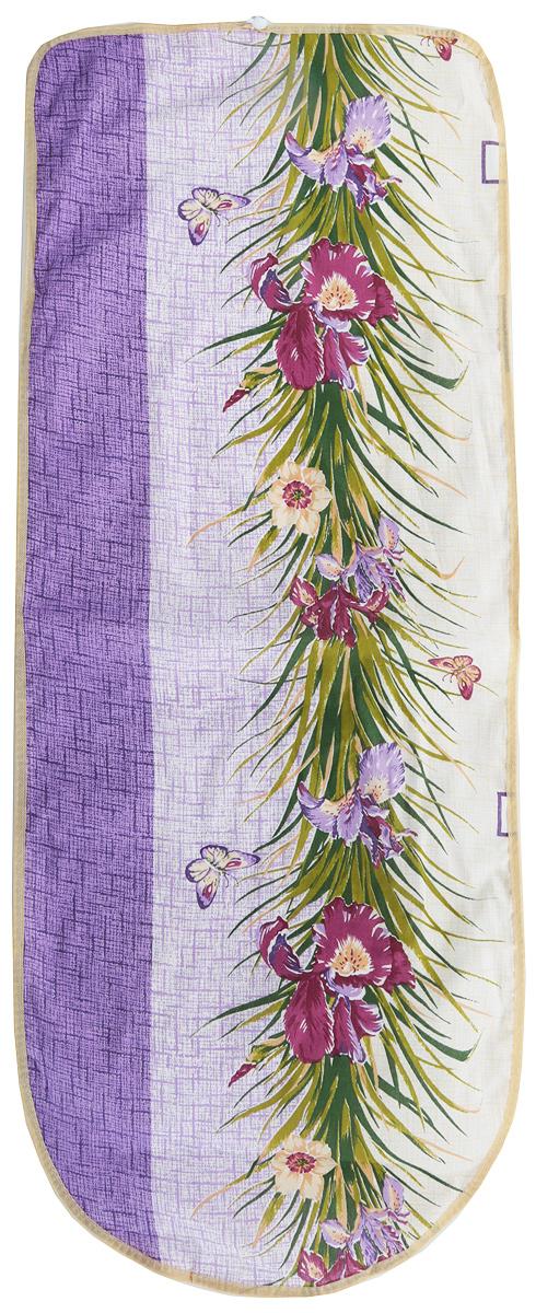 Чехол для гладильной доски Detalle, цвет: сиреневый, фиолетовый, зеленый, 125 х 47 смЕ1301_сиреневый, фиолетовый, зеленый