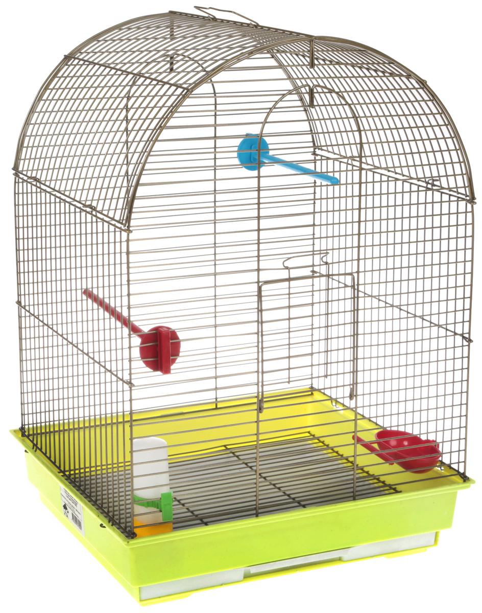 Клетка для птиц Велес Lusy Gold, разборная, цвет: золотистый, салатовый, 30 х 42 х 65 см лежанка для животных добаз цвет светло розовый серый 65 х 65 х 20 см