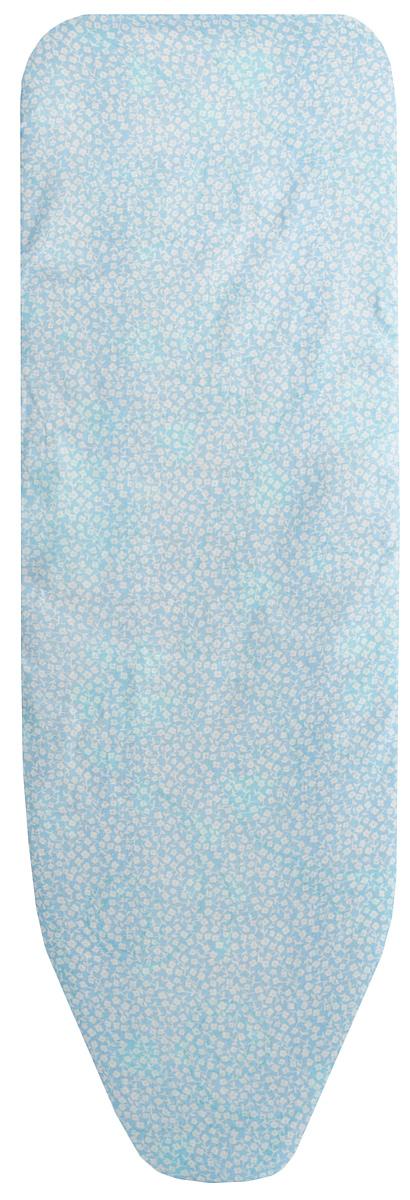 Чехол для гладильной доски Eva Цветок, цвет: голубой, белый, 129 х 45 смЕ1303_голубойбелый цветокЧехол для гладильной доски Eva Цветок, цвет: голубой, белый, 129 х 45 см