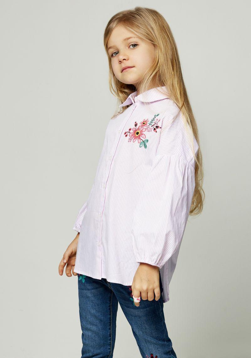 Блузка для девочки Zarina, цвет: розовый. 8122023323066D. Размер 1288122023323066DБлузка Zarina, изготовленная из натурального хлопка, оформлена принтом. Модель с длинными рукавами и отложным воротником застегивается на пуговицы. Низ изделия слегка закруглен.