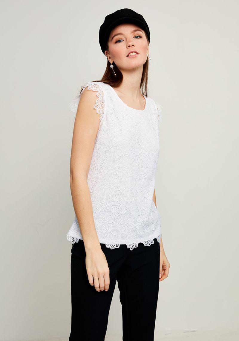 Блузка женская Zarina, цвет: белый. 8123510410001. Размер XXL (52)8123510410001Блузка Zarina выполнена из высококачественного материала. Модель с круглым вырезом горловины и без рукавов, дополнена ажурным плетением.