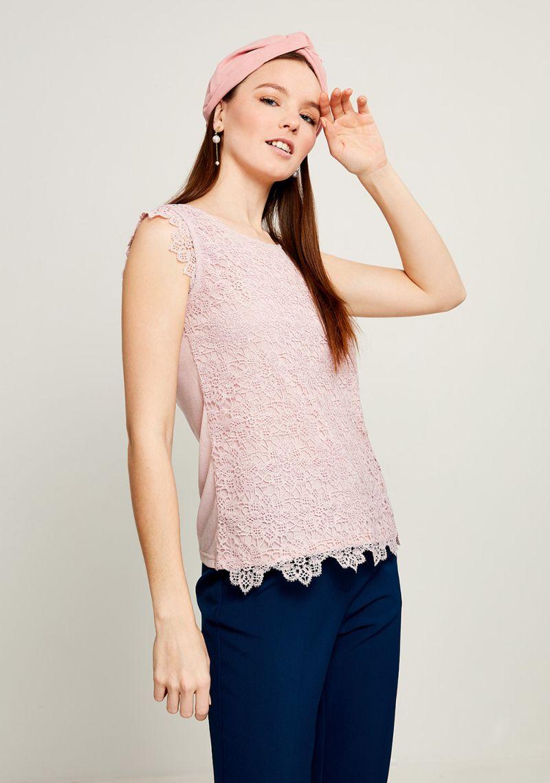 Блузка женская Zarina, цвет: розовый. 8123510410093. Размер XXL (52)8123510410093Блузка Zarina выполнена из высококачественного материала. Модель с круглым вырезом горловины и без рукавов, дополнена ажурным плетением.