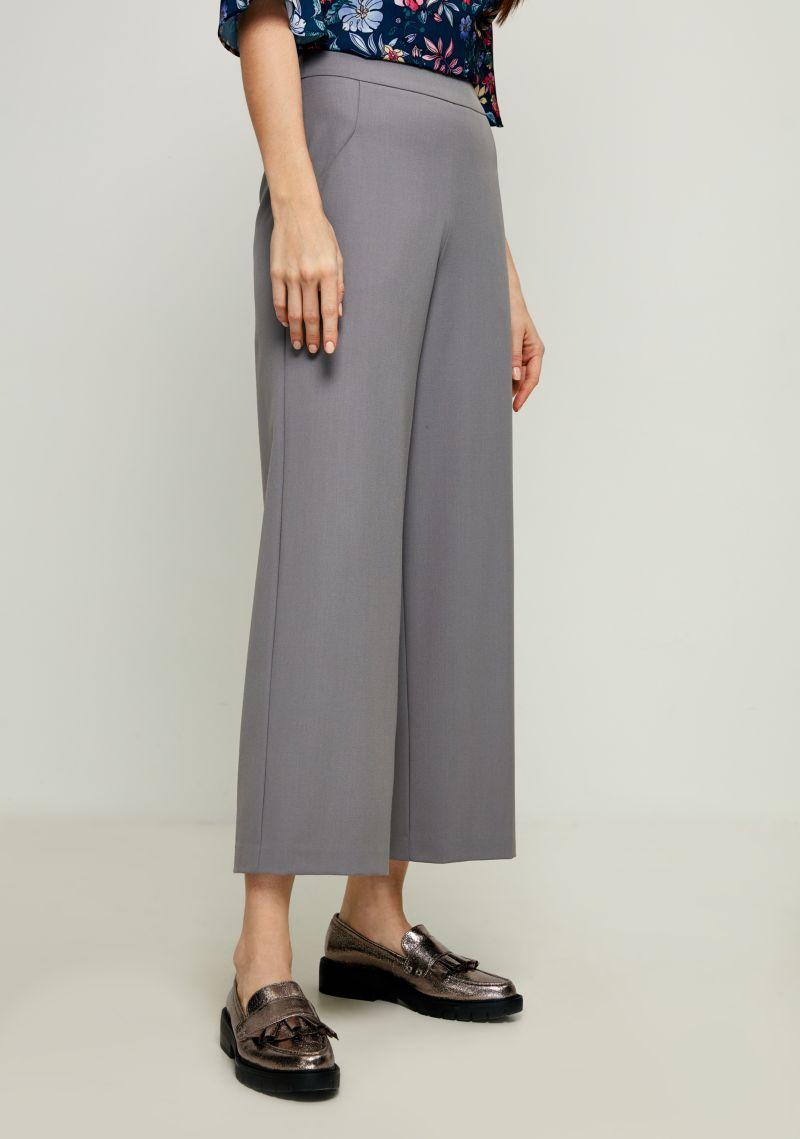 Брюки женские Zarina, цвет: серый. 8123219720032. Размер 528123219720032Стильные брюки Zarina, изготовленные из качественного материала, станут отличным дополнением вашего гардероба. Брюки широкого кроя и стандартной посадки на талии застегиваются сбоку на скрытую молнию.