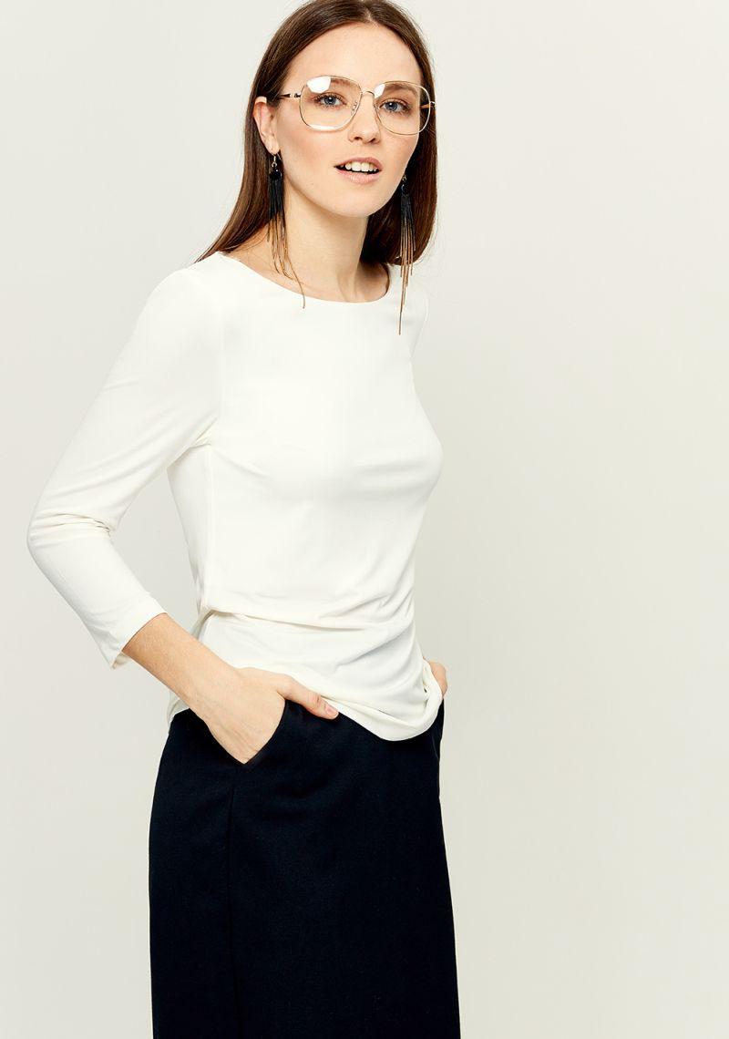 Джемпер женский Zarina, цвет: белый. 8121505408002. Размер L (48)8121505408002Женский джемпер Zarina выполнен из полиэстера с добавлением эластана. Модель с круглым вырезом горловины и длинными рукавами.
