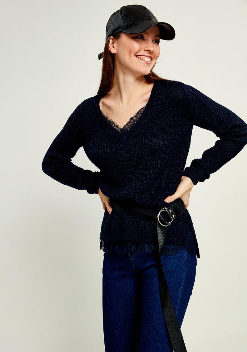 Джемпер женский Zarina, цвет: темно-синий. 8121611809047. Размер S (44)8121611809047Женский джемпер Zarina выполнен из акрила. Модель с V - образным вырезом горловины и длинными рукавами оформлена ажурными вставками.