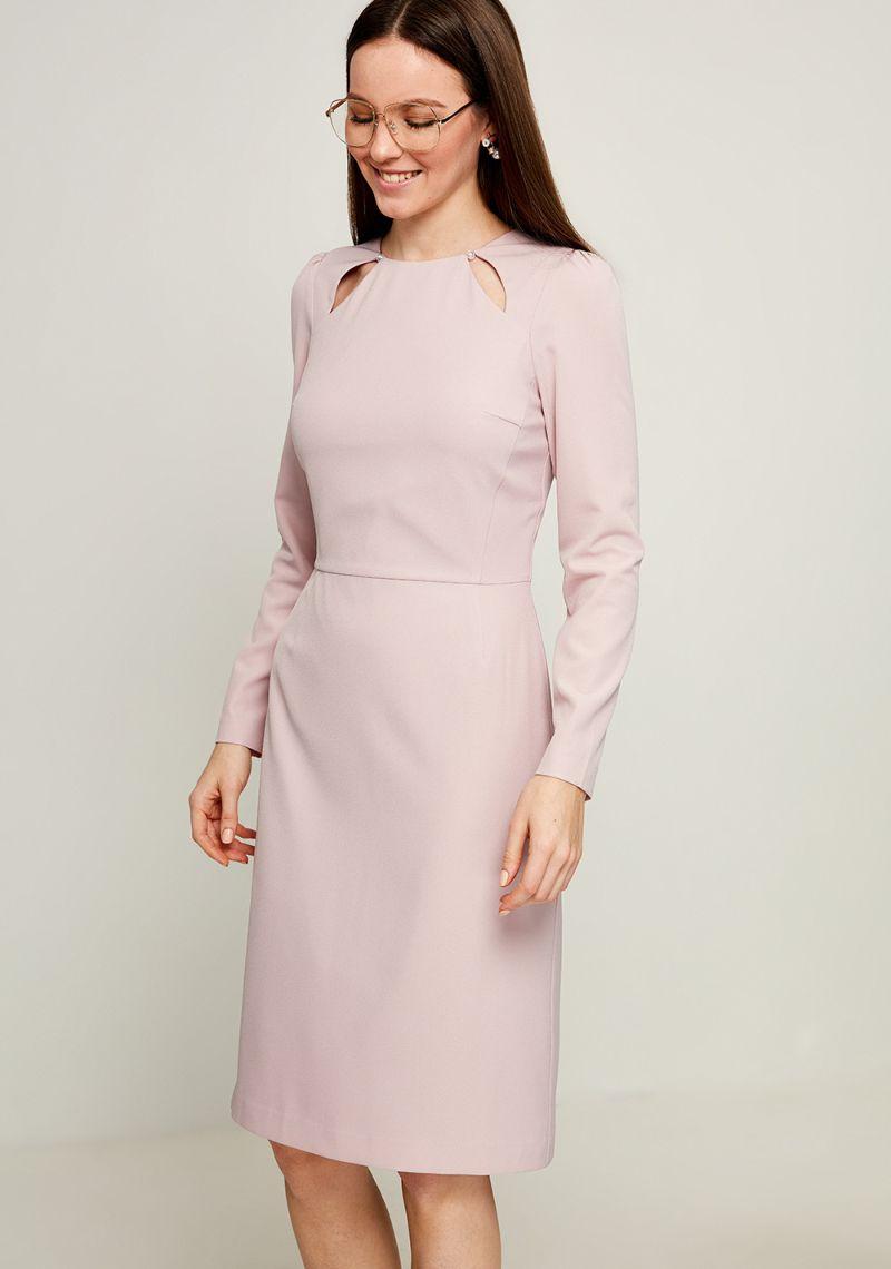Платье Zarina, цвет: пепельно-розовый. 8123014514098. Размер 488123014514098Стильное платье от Zarina выполнено из высококачественного полиэстера с добавлением эластана. Модель прилегающего кроя с длинными рукавами и круглым вырезом горловины. Платье застегивается на застежку-молнию на спинке.Данная модель прекрасно сможет подчеркнуть ваш индивидуальный стиль.