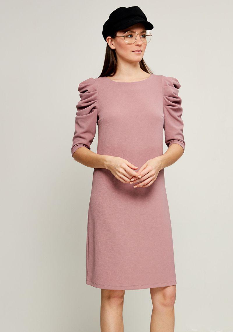 Платье Zarina, цвет: розовый. 8123043543093. Размер 448123043543093Стильное платье от Zarina выполнено из эластичного трикотажа. Модель с короткими рукавами до локтя и круглым вырезом горловины. Рукава на плечах присборены.
