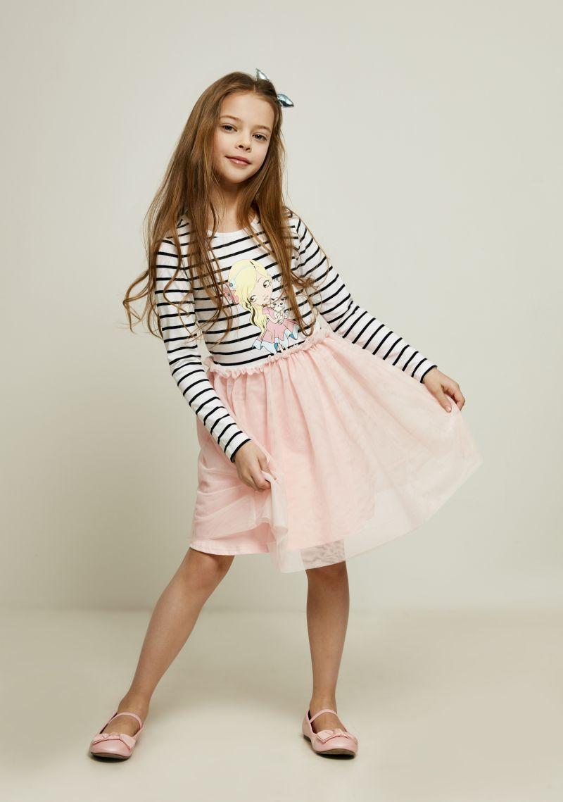 Платье для девочки Zarina, цвет: белый, черный. 8122024525053D. Размер 1168122024525053D