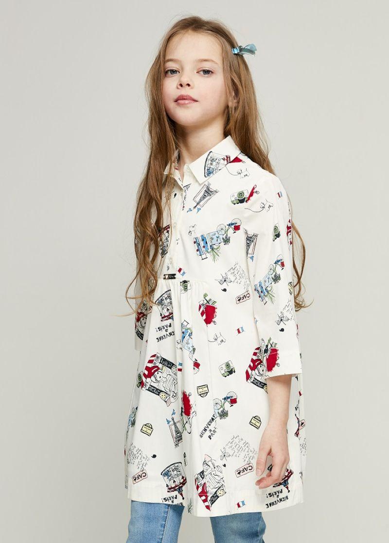 Платье для девочки Zarina, цвет: белый. 8122025525001D. Размер 1408122025525001D