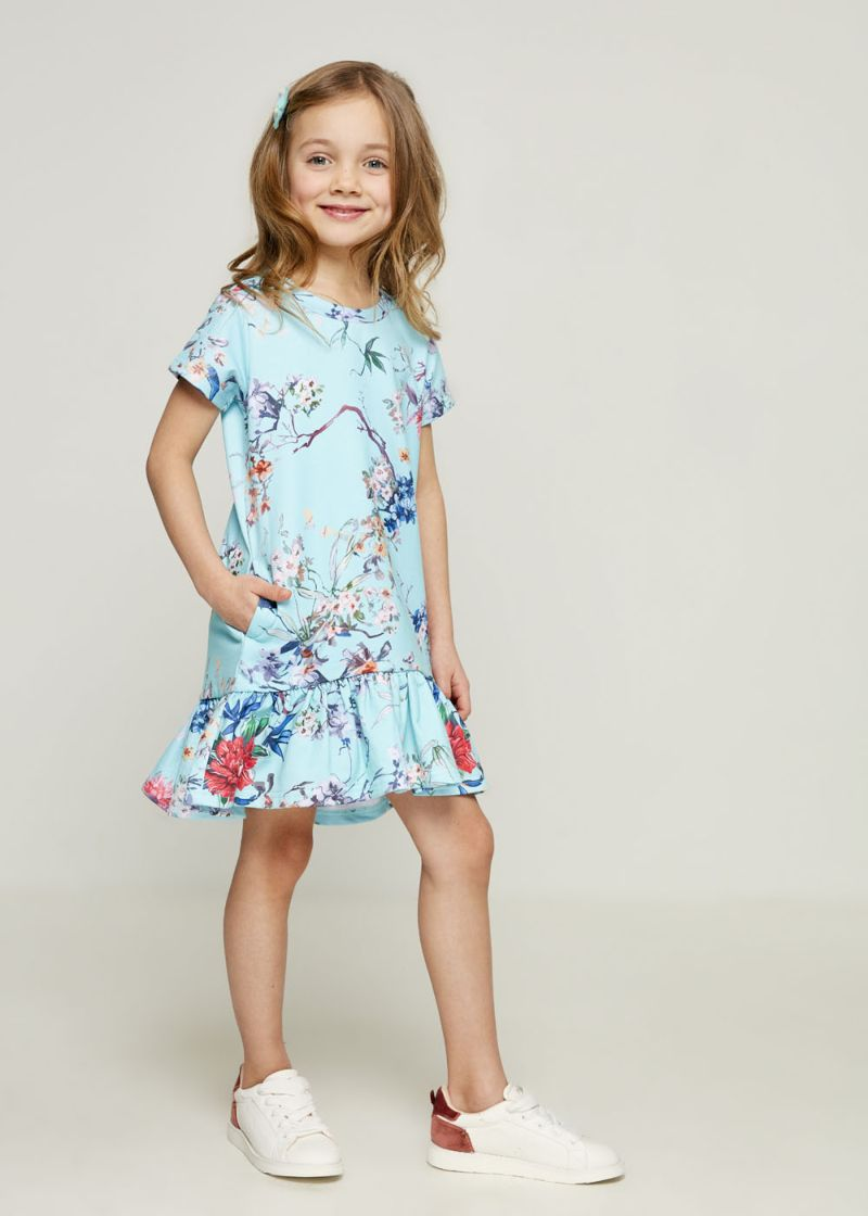 Платье для девочки Zarina, цвет: голубой. 8123037537069D. Размер 134