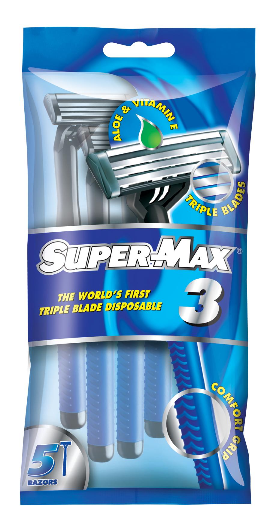 Super-Max 3 Одноразовые станки с тройным лезвием, 5 шт