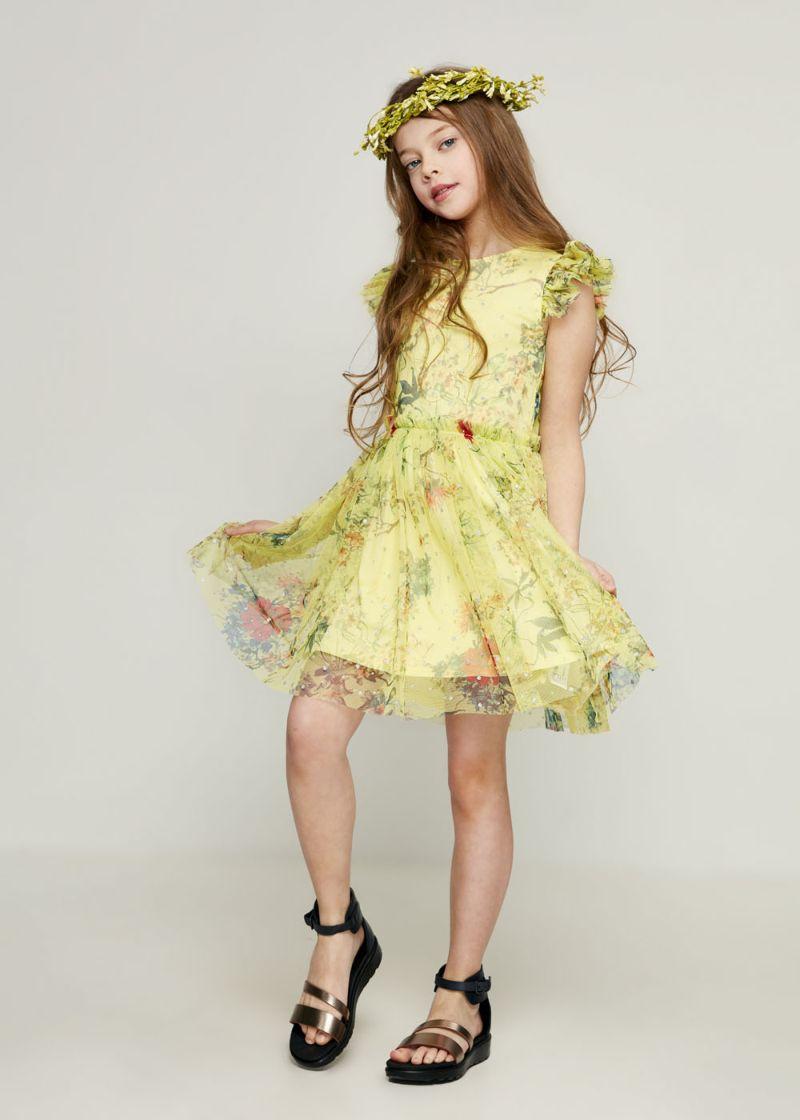 Платье для девочки Zarina, цвет: желтый. 8123038538079D. Размер 122 джемпер для девочки zarina цвет белый 8122516416008d размер 122