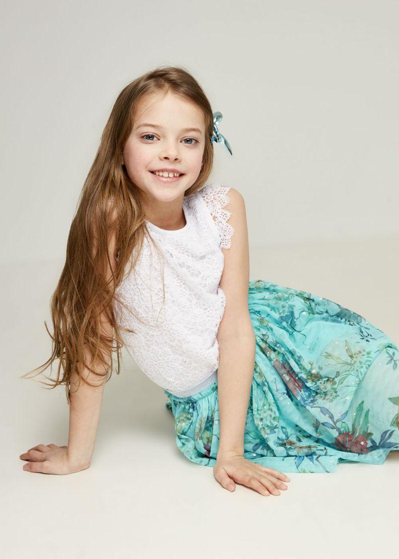 Блузка для девочки Zarina, цвет: белый. 8123510410001D. Размер 134