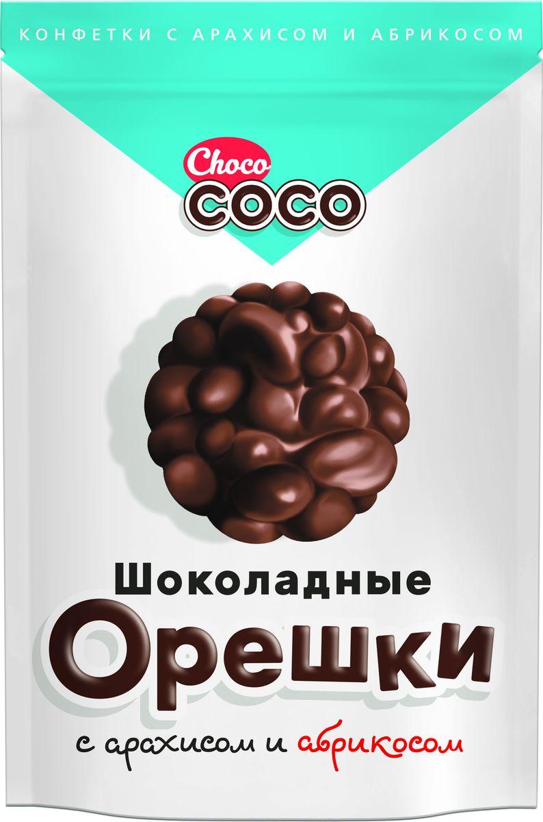 Chocolate Coco Шоколадные орешки с арахисом и абрикосом конфеты, 100 г пудовъ кексики шоколадные 250 г