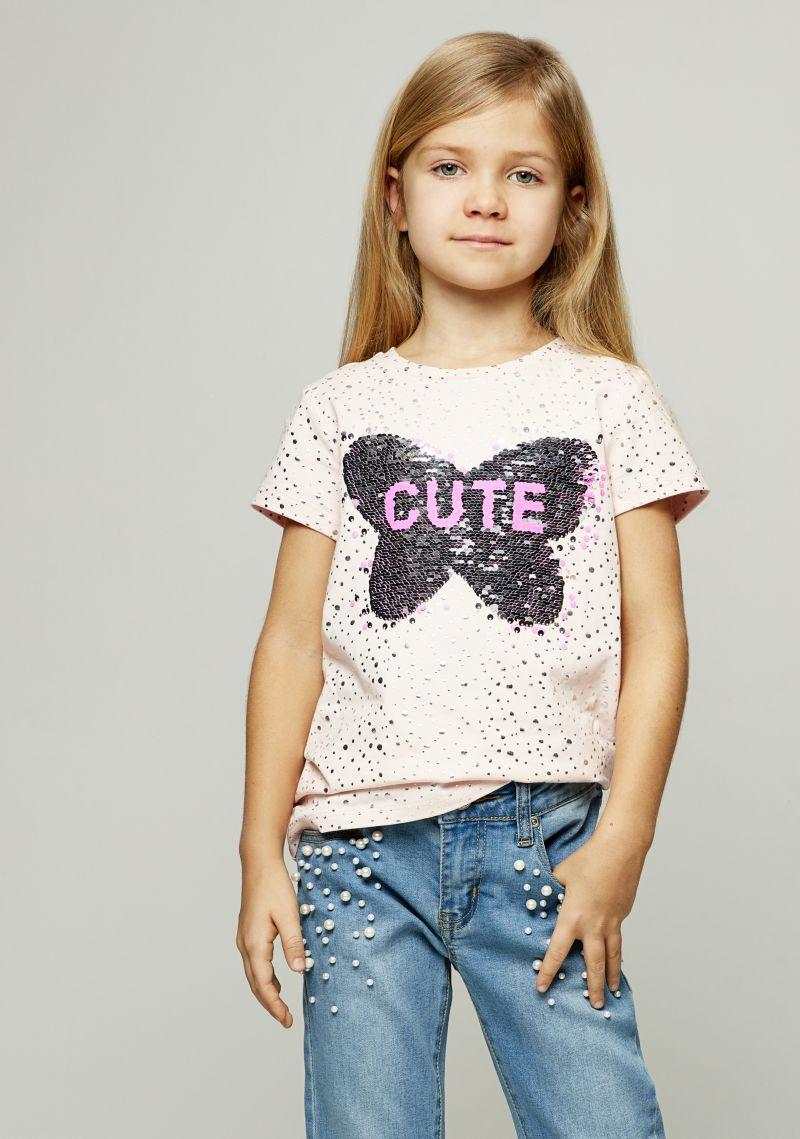 Футболка для девочки Zarina, цвет: розовый. 8122509409093D. Размер 1348122509409093DСтильная футболка для девочки Zarina выполнена из хлопка с добавлением эластана. Модель с круглым вырезом горловины и короткими рукавами оформлена принтом.