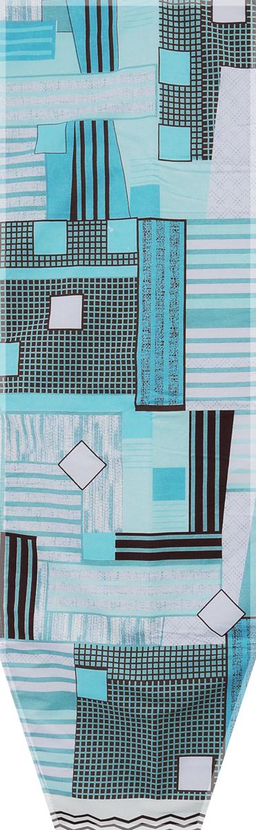 Чехол для гладильной доски Nika Квадраты, универсальный, с поролоном, цвет: голубой, коричневый, 129 х 40 см чехол для гладильной доски nika комфорт антипригарный с поролоном 129 х 54 см