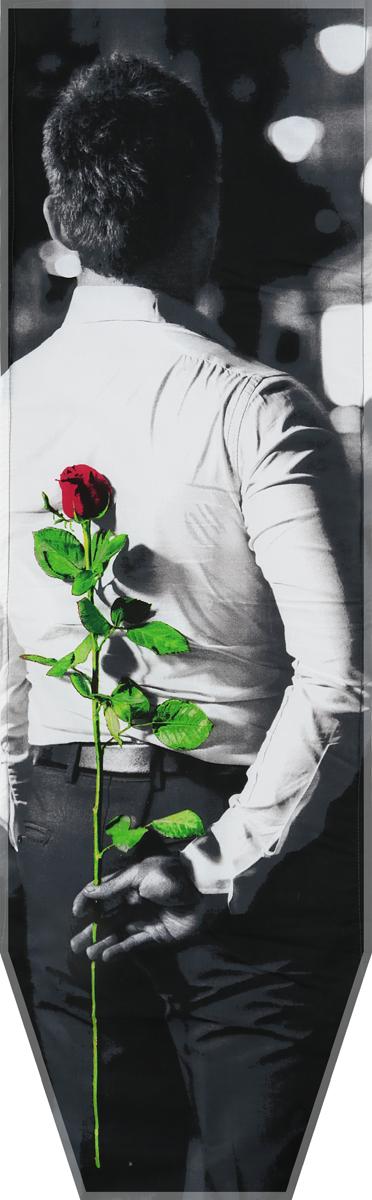 Чехол для гладильной доски Nika Мужчина с розой, универсальный, с поролоном, 129 х 40 см чехол для гладильной доски nika комфорт антипригарный с поролоном 129 х 54 см