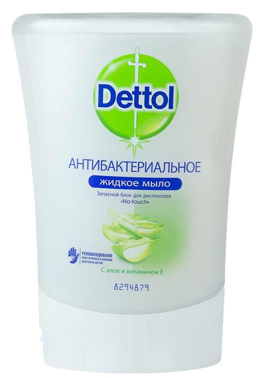 Запасной блок жидкого мыла Dettol, с алоэ и витамином Е, 250 мл dettol антибактериальное жидкое мыло для диспенсера no touch с алоэ и витамином е запасной блок 250 мл запасной блок