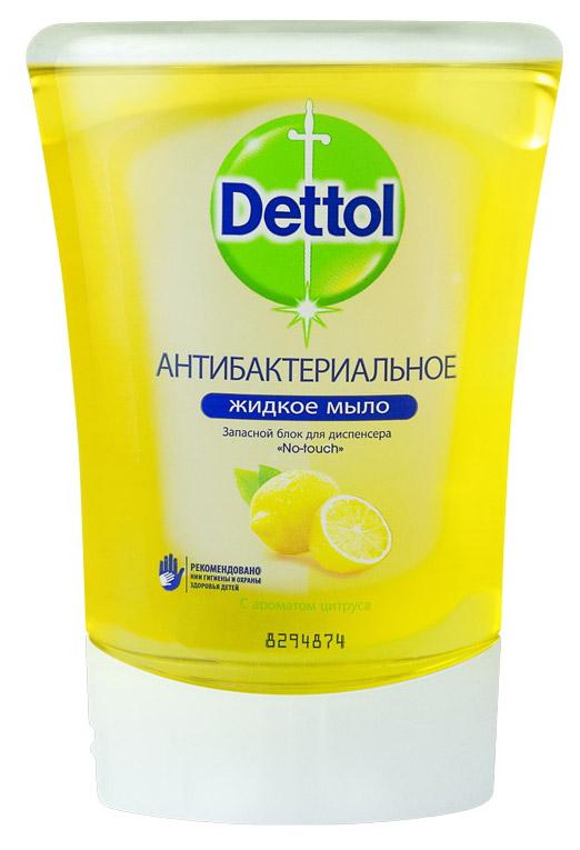 Запасной блок жидкого мыла Dettol, с ароматом цитруса, 250 мл dettol антибактериальное жидкое мыло для диспенсера no touch с алоэ и витамином е запасной блок 250 мл запасной блок