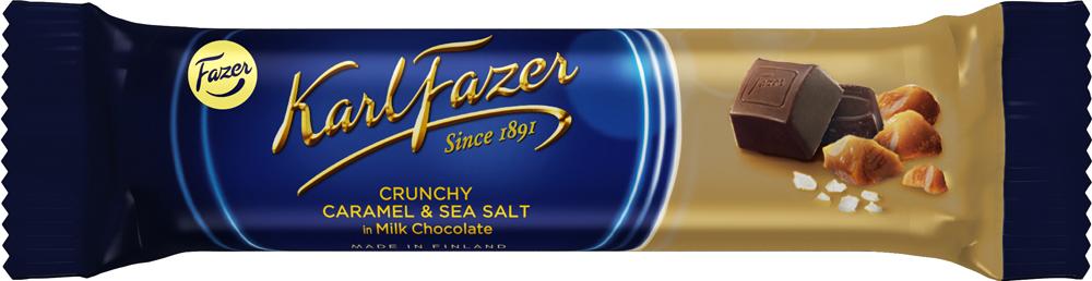 Karl Fazer батончик из молочного шоколада с кусочками карамели и морской солью, 37 г деткино шоколадные фигурки из молочного шоколада 135 г