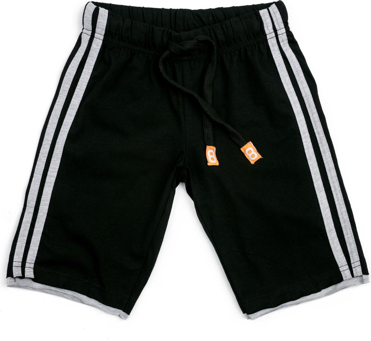 Шорты для мальчика PlayToday Sport, цвет: черный, белый. 180010. Размер 116180010Шорты из натуральной ткани. Пояс на широкой резинке, не сдавливающей живот ребенка, дополнен регулируемым шнуром - кулиской.