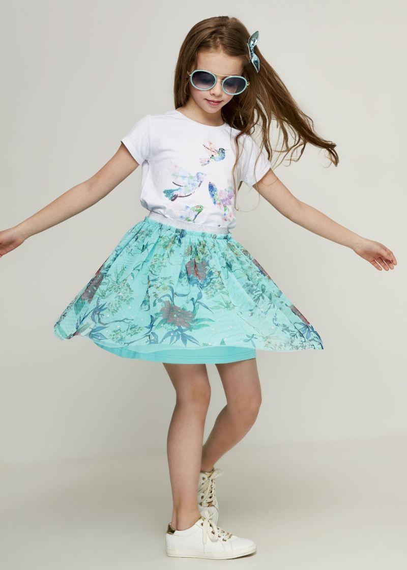 Юбка для девочки Zarina, цвет: разноцветный. 8123531231079D. Размер 1168123531231079DОригинальная юбка от Zarina выполнена из полиэстера с подкладкой из полиэстера и эластана, дополнена эластичной резинкой на талии и декорирована принтом.