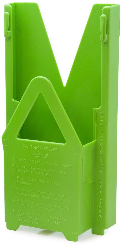 Мультибокс для овощерезки Borner Classic, цвет: салатовый, 25,5 х 13 х 6 см3810167Мультибокс этой модели подходит только для овощерезки «Классика». Он создан для удобного и безопасного хранения комплекта из 5-ти предметов: основной рамы, трёх вставок с очень острыми ножами и плододержателя. Овощерезку в мультибоксе можно поставить на стол или повесить на стену, и ваша любимая тёрка будет у вас всегда под руками, притом в полной сохранности. Мультибокс имеет стоп-фиксатор, непозволяющий маленькому ребенку вытащить из него основную раму с острыми ножами.