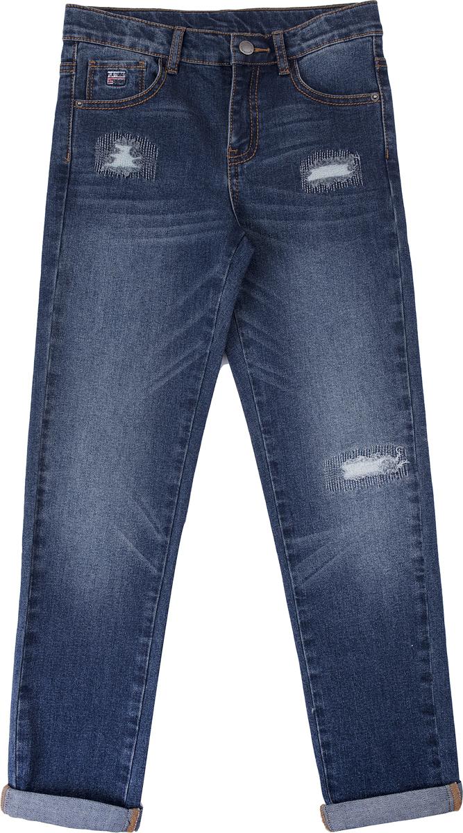 Джинсы для мальчика PlayToday, цвет: голубой. 181007. Размер 146/152181007Брюки - джинсы выполнены из натуральной хлопковой ткани с добавлением эластана. Классическая модель, со шлевками. При необходимости можно использовать ремень. Изнутри предусмотрена регулировка по талии.