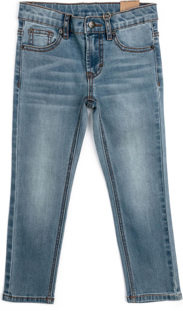 Джинсы для мальчика PlayToday, цвет: синий. 181154. Размер 122181154Джинсы выполнены из натурального хлопка. Классическая 5-ти карманная модель. Пояс изнутри регулируется за счет резинки на пуговицах.