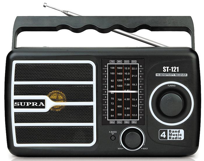 Supra ST-121, Black радиоприемникST-121 blackПортативный радиоприемник Supra ST-121 с аналоговым тюнером и поддержкой расширенного FM-диапазона 64-108 МГц имеет один динамик с переключателем усиленных басов. Приемник имеет удобную ручку для переноски и работает от сети или от 2 батарей R20 (UM-1/D).Диапазон частот FM (УКВ): 64 - 108 МГц.Диапазон частот AM (СВ): 530 - 1600 кГц.Диапазон частот SW1 (КВ1): 3,2 - 8 МГц.Диапазон частот SW2 (КВ2): 9,5 - 22 МГц.