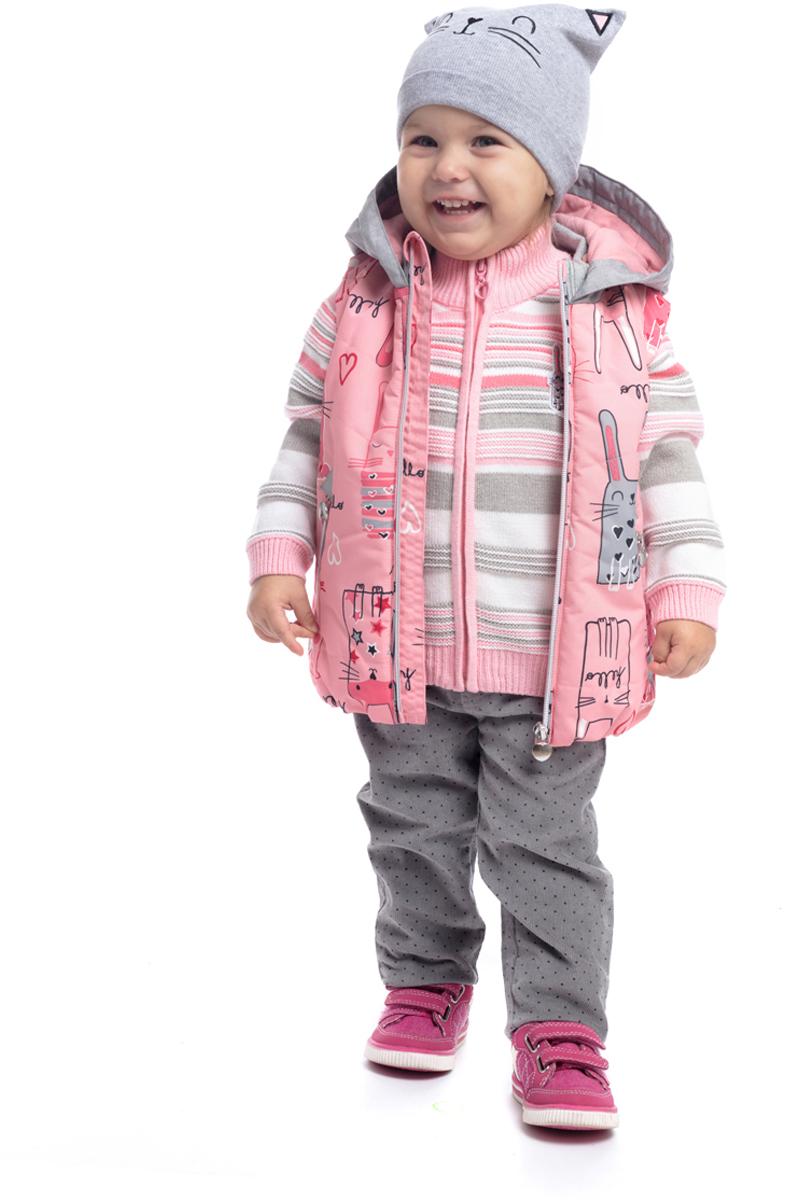 Жилет утепленный для девочки PlayToday, цвет: светло-розовый, серый, белый. 188005. Размер 74188005