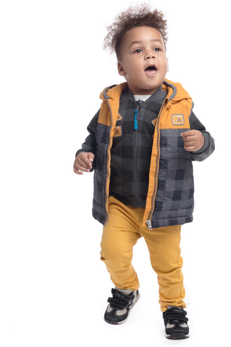 Жилет утепленный для мальчика PlayToday, цвет: серый, желтый. 187006. Размер 74