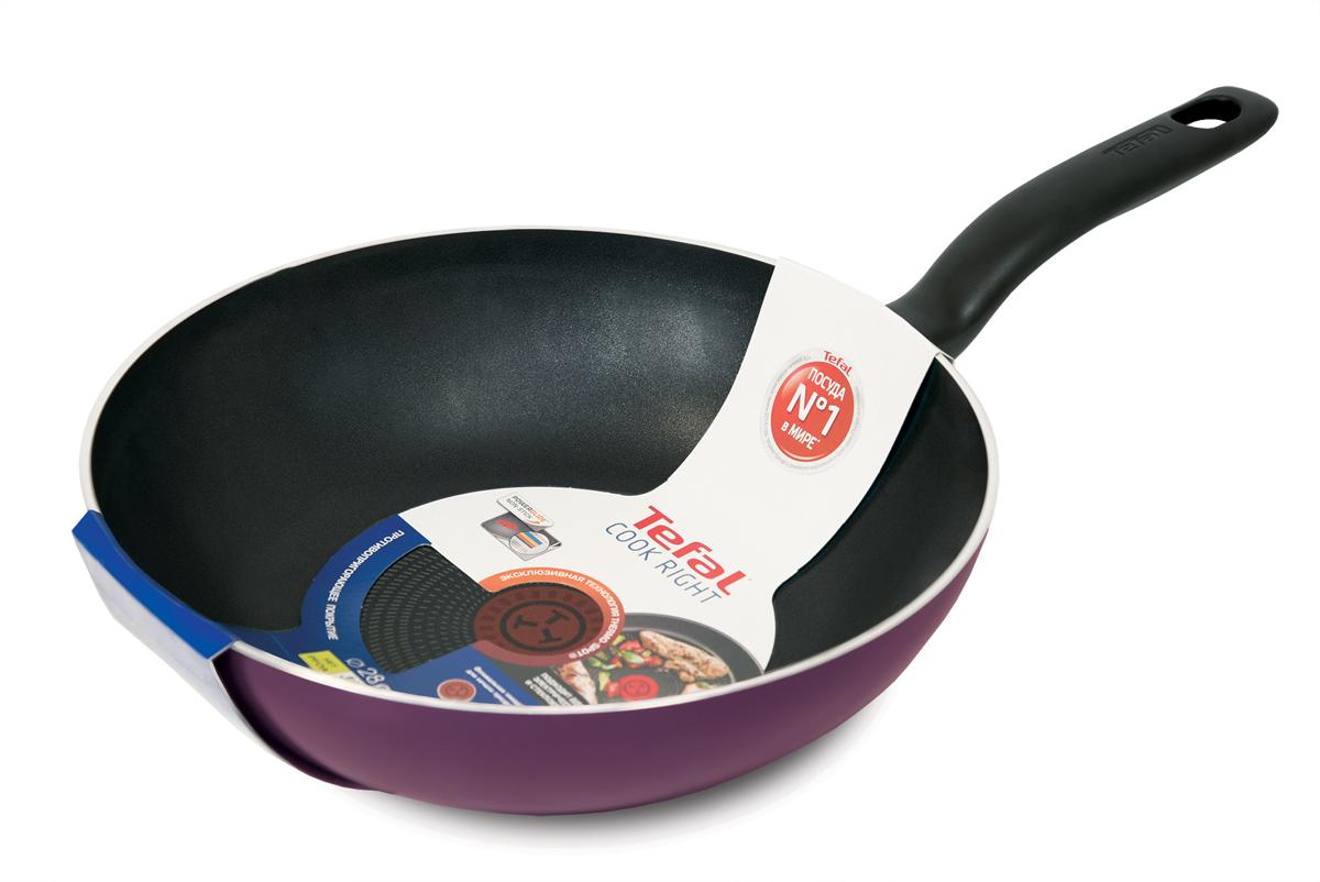 """Сковорода Tefal """"Cook Right"""" - превосходное решение для ежедневного использования.  Изделие выполнено из алюминия с антипригарным покрытием Powerglide, которое легко  моется и дольше остается гладким. Большая эргономичная ручка и глубокая форма  помогают вам  приготовить даже большие порции легко и эффективно.  Благодаря крепкому корпусу для лучшей эффективности Cook Right идеально сочетает в  себе легкость приготовления и непревзойденный результат. Технология Thermo-Spot -  ваш ключ к идеальной температуре для начала приготовления и безупречных результатов без  лишних усилий. Серия подходит для любых типов плит, за исключением индукции, и совмещает в себе  улучшенное качество и вместимость блюд на целую семью, обеспечивая быстрое и простое  приготовление.  Сковорода Tefal """"Cook Right"""" станет отличной помощницей на  вашей кухне."""