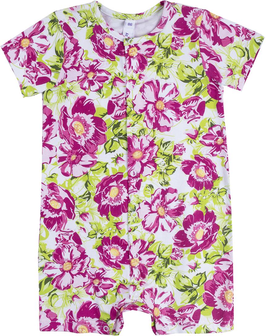Комбинезон домашний для девочки PlayToday, цвет: белый, розовый, зеленый. 188869. Размер 62188869