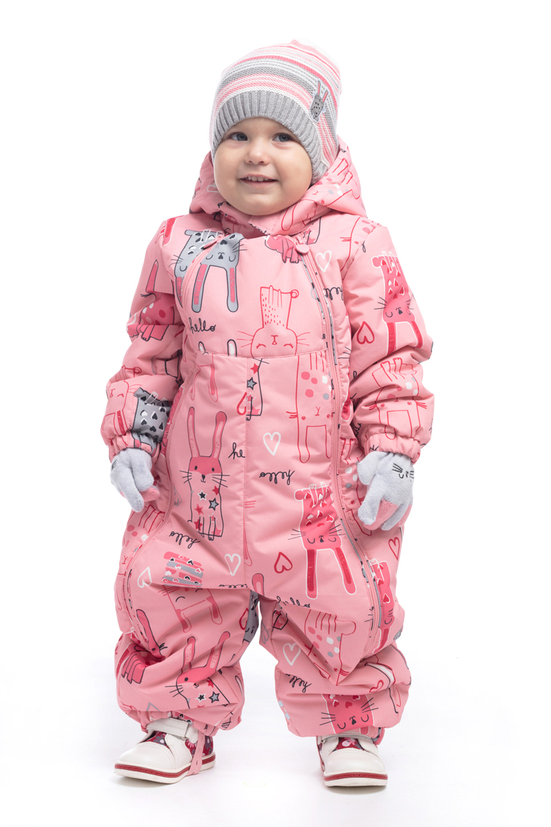 Комбинезон утепленный для девочки PlayToday, цвет: светло-розовый, белый, серый. 188004. Размер 80188004
