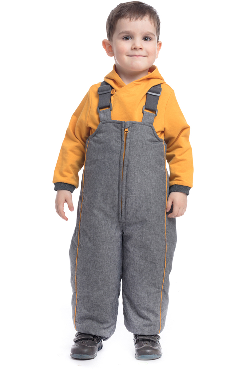 Комбинезон утепленный для мальчика PlayToday, цвет: серый, желтый. 187002. Размер 98