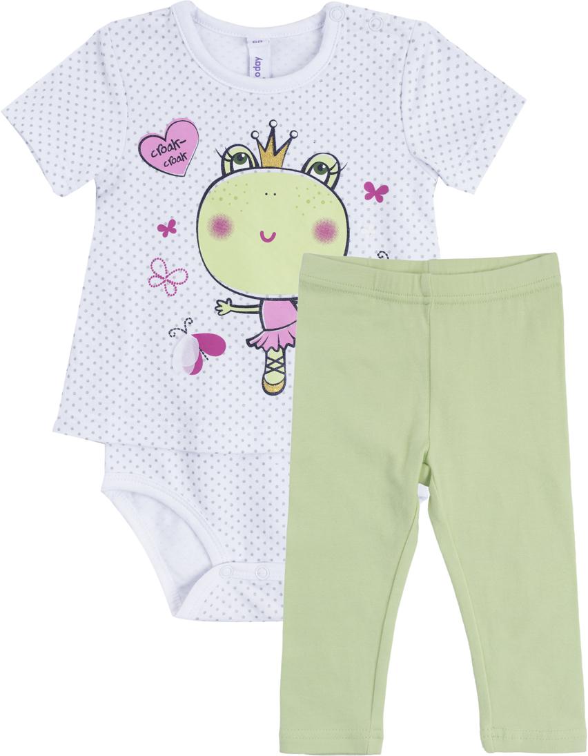 Комплект для девочки PlayToday: боди, брюки, цвет: белый, светло-зеленый. 188865. Размер 74 брюки для девочек playtoday 148076 р 74 80 см цвет зеленый