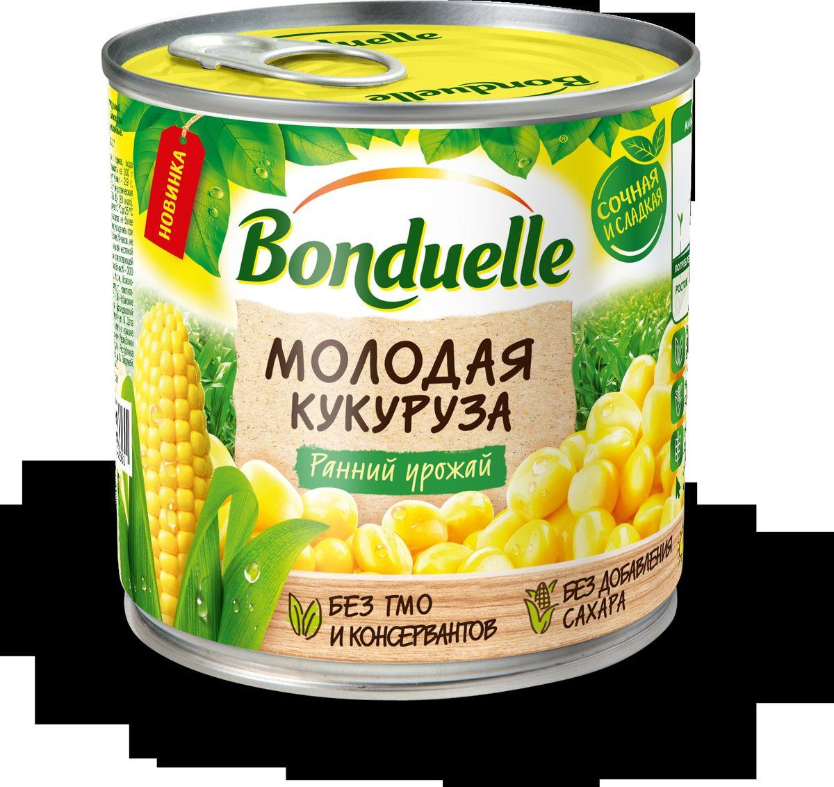 Bonduelle Кукуруза молодая, 340 г3083681083330Высокое качество, изысканный вкус, сочная, натурально сладкая, без добавления сахара. Вкусный и полезный перекус, сочный и хрустящий ингредиент для овощных салатов.