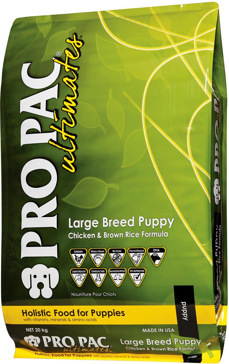 Корм сухой Pro Pac Ultimates Суперпремиум. Large Breed Puppy для щенков крупных пород, с курицей и коричневым рисом, 20 кг2000002Содержание основных питательных веществ: Протеин 26,00% Жир 14,00% Клетчатка 5,00% Влага 10,00% Омега 6 >3,1% Омега 3 >0,8% Ингредиенты: Мука из мяса курицы, коричневый рис, белый рис, горох, рисовые отруби, куриный жир (в качестве консерванта используется смешанный токоферол- натуральный источник витамина Е), рыбная мука, мякоть свеклы,гороховый протеин,семя льна,яйцо сухое цельное, яблоки,черника,морковь,шпинат, черничная клетчатка,клюквенная клетчатка, DL-метионин, L-лизин, таурин, глюкозамина гидрохлорид, хондроитина сульфат, юкка, L-карнитин, бета-каротин, витамины, минеральные вещества