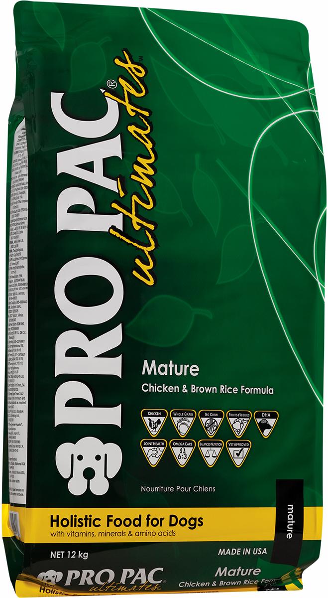 Корм сухой Pro Pac Ultimates Суперпремиум. Mature для пожилых собак, c курицей и коричневым рисом, 12 кг2000059Содержание основных питательных веществ: Протеин 21,00% Жир 12,00% Клетчатка 5,00% Влага 10,00% Омега 6 >2,75% Омега 3 >0,55% Ингредиенты: Мука из мяса курицы, коричневый рис, белый рис, горох, рисовые отруби, куриный жир (в качестве консерванта используется смешанный токоферол-натуральный источник витамина Е), мякоть свеклы, рыбная мука, семя льна, яйцо сухое цельное, натуральный ароматизатор,яблоки, черника, морковь, шпинат, черничная клетчатка, клюквенная клетчатка, DL-метионин, L-лизин, таурин, глюкозамин гидрохлорид, хондроитин сульфат, юкка, L-карнитин, бета-каротин, витамины, минеральные