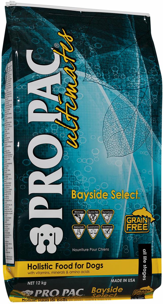 Корм сухой Pro Pac Ultimates Суперпремиум. Bayside Select для взрослых собак, с белой рыбой и картофелем, 12 кг2000079Содержание основных питательных веществ: Протеин 23,00% Жир 14,00% Клетчатка 4,00% Влага 10,00% Омега 6 >2,2% Омега 3 >1,5% Ингредиенты: Мука из рыбы, картофель, горох, нут, масло канолы (в качестве консерванта используется смешанный токоферол - натуральный источник витамина Е), батат, гороховая клетчатка, натуральный ароматизатор, семя льна, яйцо сухое цельное, яблоки, черника, морковь, шпинат, черничная клетчатка, клюквенная клетчатка, DL-метионин, L-лизин, таурин, юкка, L-карнитин, бета-каротин, витамины, минеральные вещества.