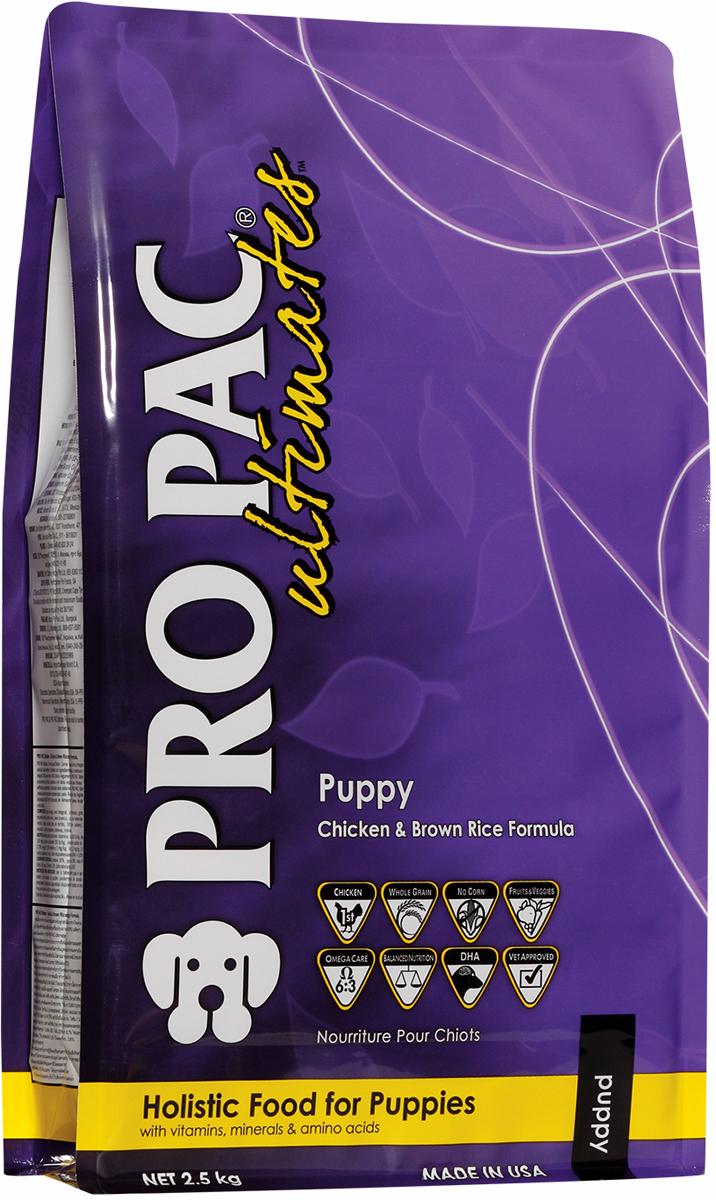 Корм сухой Pro Pac Ultimates Суперпремиум. Puppy для щенков, с курицей и коричневым рисом, 2,5 кг2000099Содержание основных питательных веществ: Протеин 30,00% Жир 20,00% Клетчатка 4,00% Влага 10,00% Омега 6 >3,75% Омега 3 >0,75% Ингредиенты: Мука из мяса курицы, коричневый рис, белый рис, куриный жир (в качестве консерванта используется смешанный токоферол-натуральный источник витамина Е), рисовые отруби, мука из рыбы, мякоть свеклы, горох, семя льна, яйцо сухое цельное, яблоки, черника, морковь, шпинат, черничная клетчатка, клюквенная клетчатка, соль, DL-метионин, L-лизин, таурин, юкка, L-карнитин, бета-каротин, витамины, минеральные вещества.